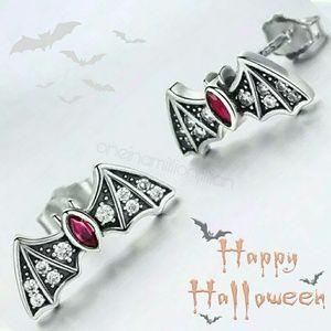 Sterling Silver CZ Bat Stud Earrings